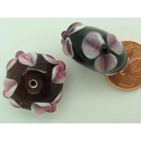 Perle verre Lampwork Galet 19mm Noir motif Fleur par 1 pc