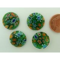 Cabochons verre MILLEFIORI 15mm fond Vert fleurs mix couleurs par 4 pcs