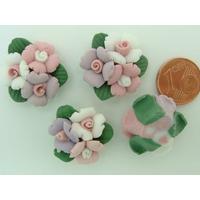 Cabochons en Porcelaine 3 fleurs 22mm par 4 pcs