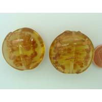 Perles verre GALET 28mm Touches dorées Marron par 2 pcs