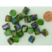 Perles rectangle verre Vert métallisé tube facettes 10mm par 20 pcs