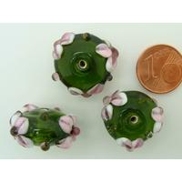 Perle verre Lampwork Galet 19mm Vert motif Fleur par 1 pc