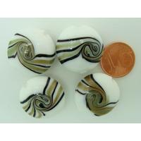 Perles verre Galets 20mm bandeau BLANC par 4 pcs