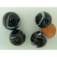 Perles verre Rondes 16mm NOIR bandeau volutes dorées par 4 pcs