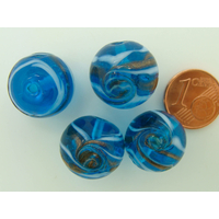 Perles verre Rondes 16mm BLEU bandeau volutes dorées par 4 pcs