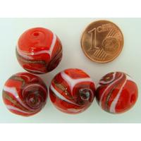 Perles verre Rondes 16mm ROUGE bandeau volutes dorées par 4 pcs