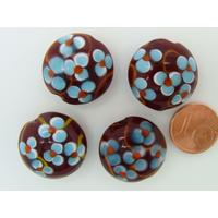 Perle verre Lampwork Galet 20mm Marron motif 5 Fleurs bleues par face par 1 pc