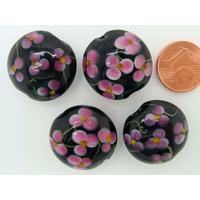 Perle verre Lampwork Galet 20mm Noir motif 5 Fleurs roses par face par 1 pc