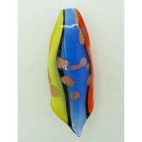 Pendentif Rouleau Jaune Bleu Vert et touches dorées 60mm en verre lampwork