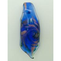 Pendentif Rouleau Bleu Foncé touches dorées 60mm en verre lampwork