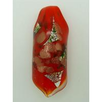 Pendentif Rouleau Rouge touches multicolores argentées et dorées 60mm en verre lampwork