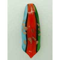 Pendentif Rouleau Bleu Rouge Vert et touches dorées 60mm en verre lampwork