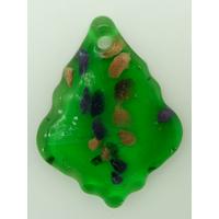 Pendentif Feuille Losange Vert 55mm touches multicolores et dorées en verre lampwork
