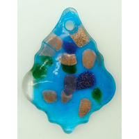 Pendentif Feuille Losange Bleu 55mm touches multicolores et dorées en verre lampwork