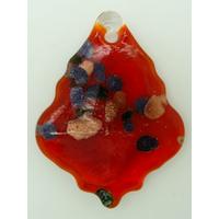 Pendentif Feuille Losange Rouge 55mm touches multicolores et dorées en verre lampwork