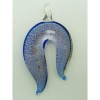 Pendentif Abstrait 55mm Bleu avec feuille argentée en verre silverfoil