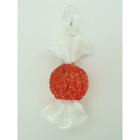 Pendentif Bonbon Rouge Blanc 7 cm en verre lampwork