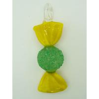 Pendentif Bonbon Vert Jaune 7 cm en verre lampwork