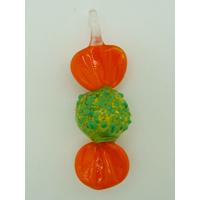 Pendentif Bonbon Vert Orange 7 cm en verre lampwork