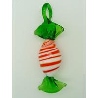 Pendentif Bonbon Sucre d'Orge Blanc Rouge Vert 7 cm en verre lampwork