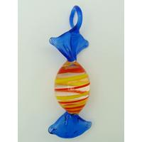 Pendentif Bonbon Sucre d'Orge Rouge Jaune Bleu 7 cm en verre lampwork