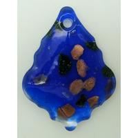 Pendentif Feuille Losange Bleu Foncé 55mm touches multicolores et dorées en verre lampwork