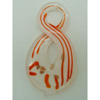 Pendentif Torsade 8 rayures Orange 65mm en verre lampwork