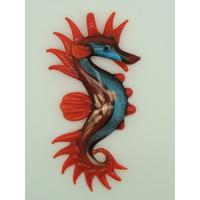 Grand Pendentif Hippocampe Rouge Bleu feuille argenté 11cm animal marin en verre lampwork