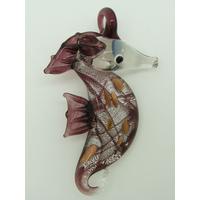 Pendentif Hippocampe Violet feuille argenté 7cm rayures et touches dorées animal marin en verre lampwork