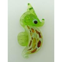 Mini Pendentif Hippocampe Vert feuille argenté 32mm animal marin en verre lampwork