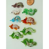 9 Mini Pendentifs Hippocampe feuille argenté 32mm animal marin en verre lampwork