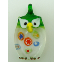 Pendentif Hibou Chouette Vert inclusion Millefiori 38mm animal oiseau en verre lampwork