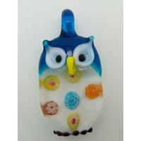 Pendentif Hibou Chouette Bleu inclusion Millefiori 38mm animal oiseau en verre lampwork