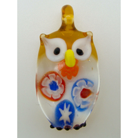 Pendentif Hibou Chouette Orange inclusion Millefiori 38mm animal oiseau en verre lampwork