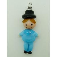 Pendentif Bonhomme Bleu 40mm homme en verre lampwork