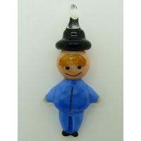 Pendentif Bonhomme Bleu Foncé 40mm homme en verre lampwork