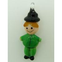 Pendentif Bonhomme Vert 40mm homme en verre lampwork