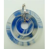 Pendentif 3 ronds Bleu 44mm en verre