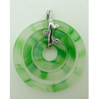 Pendentif 3 ronds Vert 44mm en verre