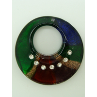 Pendentif Vert Rouge Violet Vert Marine dorée avec 7 strass et feuille argentée rond 46mm en verre
