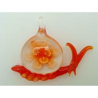 Pendentif Escargot Orange coquille Fleur 60mm animal en verre lampwork
