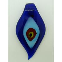 Pendentif Feuille Bleu Foncé Mauvais Oeil 64mm en verre lampwork