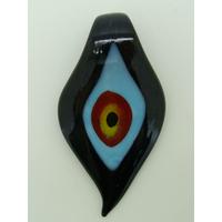 Pendentif Feuille Noir Mauvais Oeil 64mm en verre lampwork