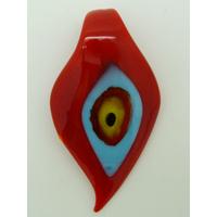 Pendentif Feuille Rouge Mauvais Oeil 64mm en verre lampwork