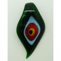 Pendentif Feuille Vert Foncé Mauvais Oeil 64mm en verre lampwork