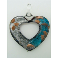 Pendentif Coeur bicolore Argentée Bleu touches dorées 51mm en verre silver foil