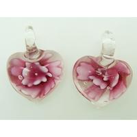 2 Mini Pendentifs Coeur transparent Fleur Violette 23mm en verre
