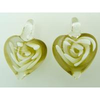 2 pendentifs Petits Coeurs 25mm Jaune inclusions fleurs volutes blanches