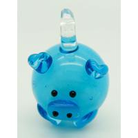 Mini Pendentif Cochon bleu 23mm en verre lampwork