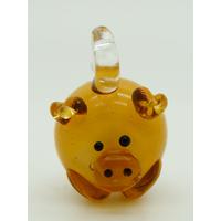 Mini Pendentif Cochon marron 23mm en verre lampwork